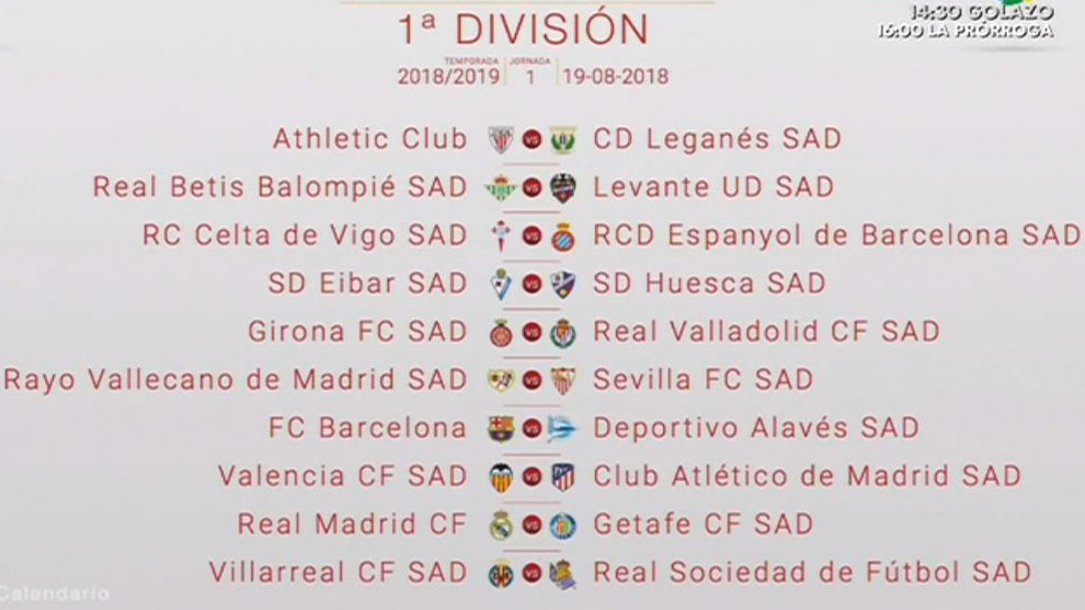 Calendario Real Madrid Liga.Calendario Liga Santander 2018 19 Las Fechas Clave Del Calendario