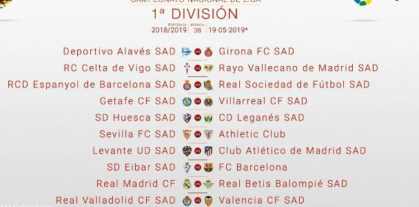 As Calendario Liga 123.Laliga Santander Sorteo Del Calendario De Liga 2018 19 En