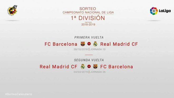 Calendario Real Madrid Liga.Sorteo Calendario Liga 2018 19 Los Clasicos Entre Barcelona Y Real