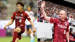 Hirotaka Mita e Iniesta con el dorsal 8