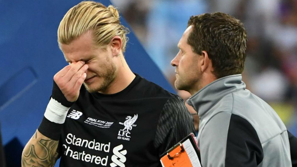 Karius reacts on the pitch after the UEFA Champions League final...