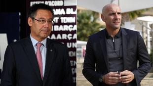 Bartomeu, presidente del Barça, y Monchi, director deportivo de la...