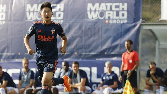 Kangin Lee, durante el partido amistoso que el Valencia ha jugado ante...