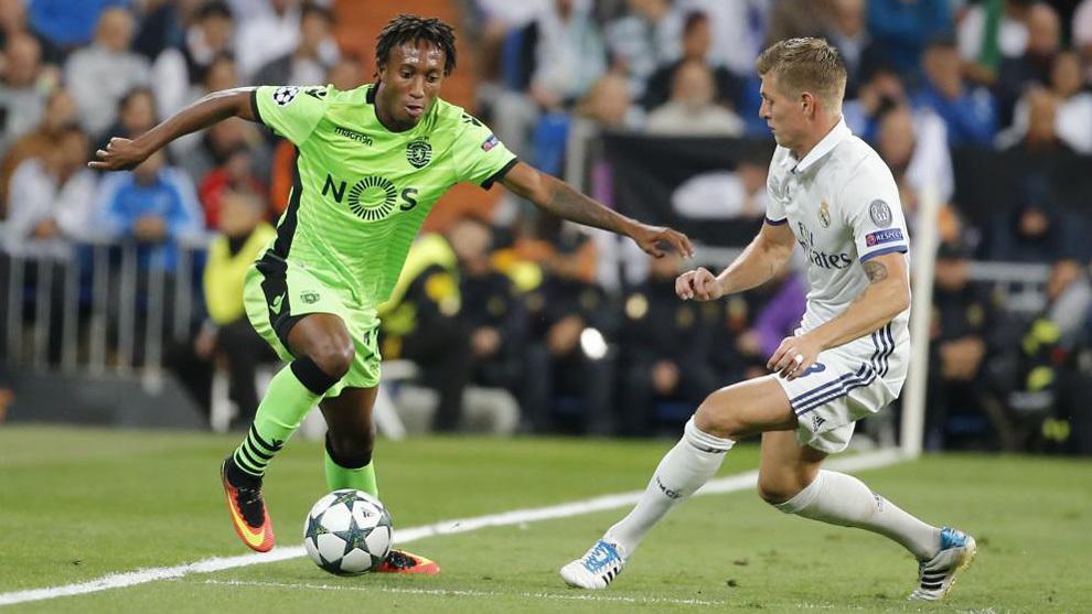 Gelson ante Kroos en un partido de Champions
