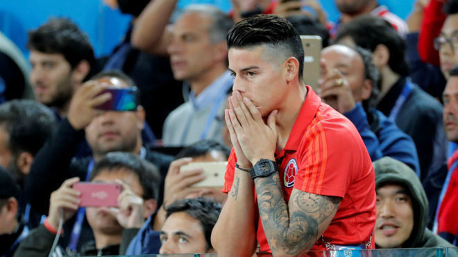 James Rodriguez reacts during the match between England and Colombia...