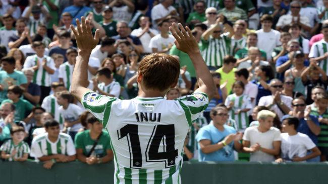 Inui, durante su presentación como nuevo jugador del Betis