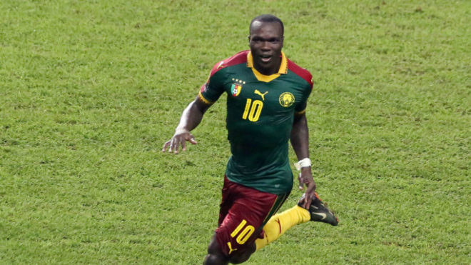 Aboubakar reacts after he scored a goal during the 2017 Africa Cup...