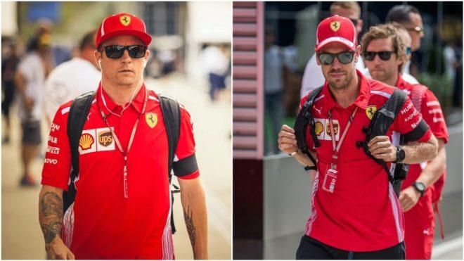 Raikkonen y Vettel, con sendos brazaletes.