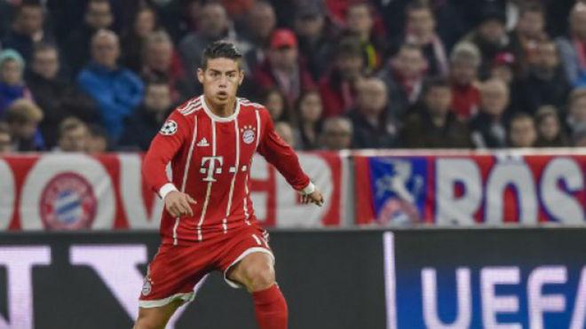 James en un partido de la pasada campaña con el Bayern.