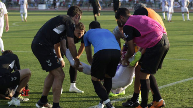 David Mayoral, tras sufrir una lesión ante el Málaga