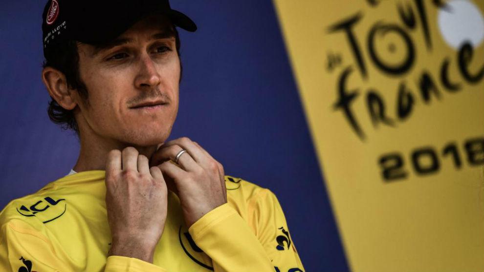 Geraint Thomas con el maillot amarillo del Tour de Francia.