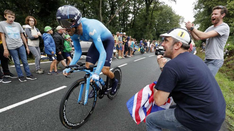Alejandro Valverde durante la contrarreloj.