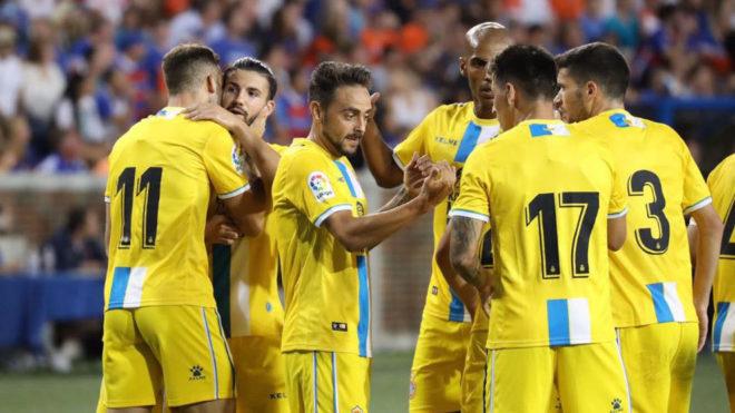 Sergio García celebra uno de los goles pericos