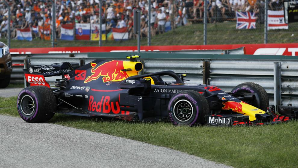 RB18 de Verstappen, tras su abandono en Hungría