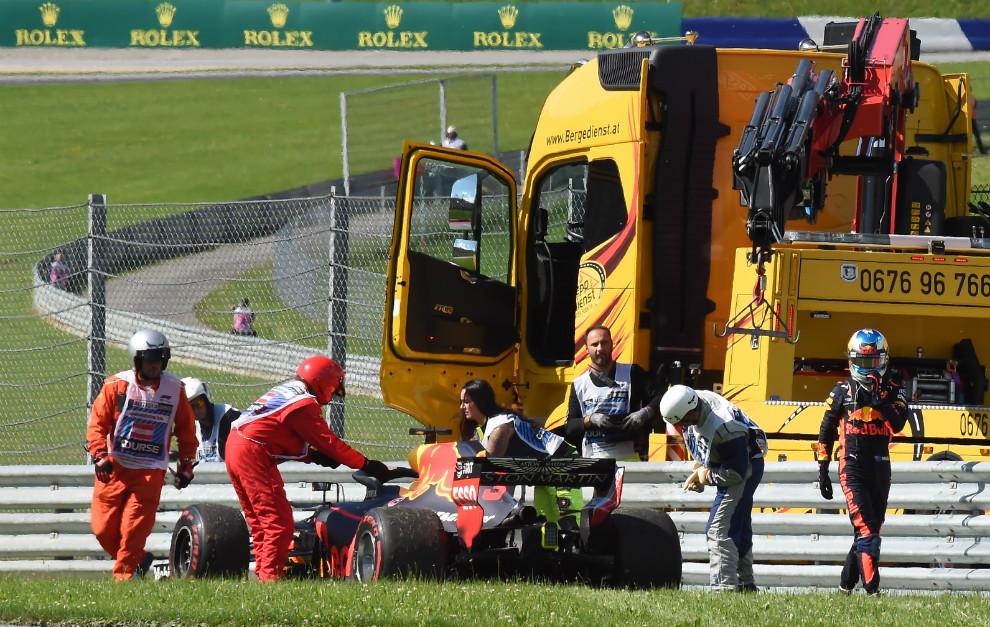 Ricciardo, en el momento de su abandono en el GP de Austria 2018