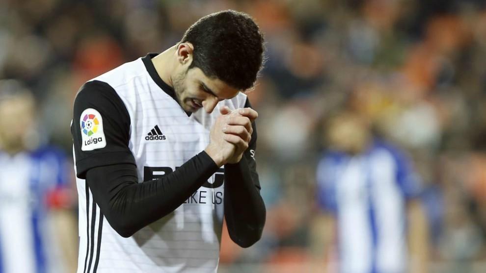 Guedes, en un partido de la pasada temporada en el Valencia.
