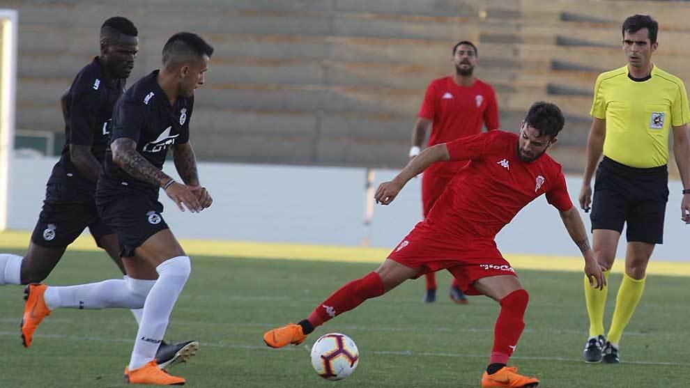 Sebas Moyano, durante el partido disputado en La Línea de la...