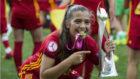 María Llompart celebra el título conseguido ante Alemania.