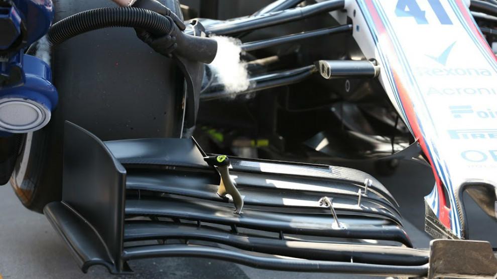 Alerón delantero del coche de Oliver Rowland, Williams