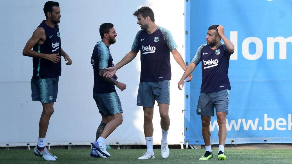 FC Barcelona: Messi, Piqué, Busquets y Alba se entrenan por primera ...