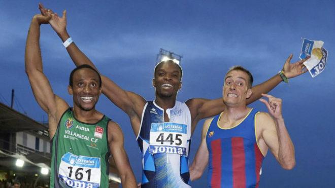 Patrick Chinedu, a la izquierda, junto a Aitor Ekobo y el 'Pájaro'...