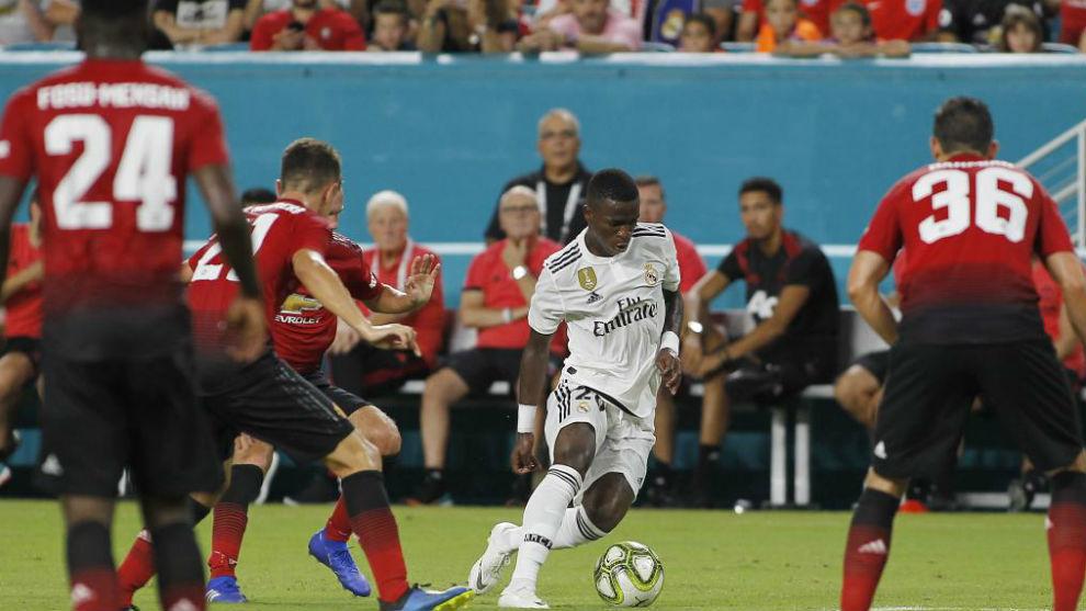 Vinícius, en el partido en Miami frente al United.