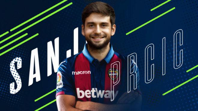 Montaje con el que el Levante ha anunciado el fichaje de Sanjin Prcic.