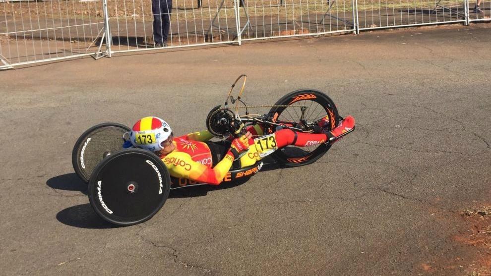 Sergio Garrote compitiendo en los Mundiales de ciclismo en ruta de...