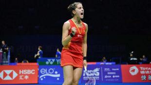 Carolina Marín celebra un punto