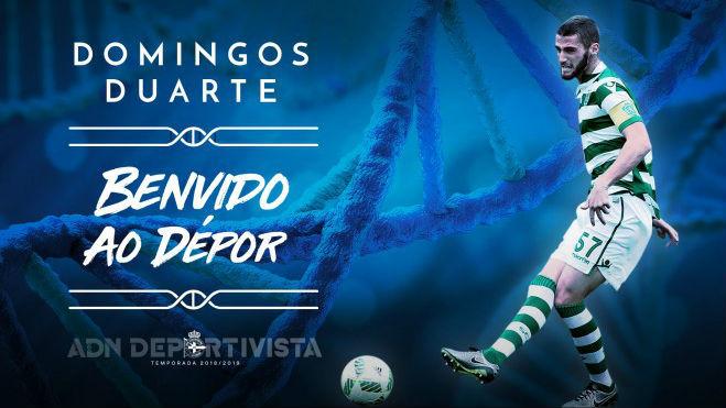 Imagen con la que el Deportivo ha hecho oficial el fichaje de Domingos...