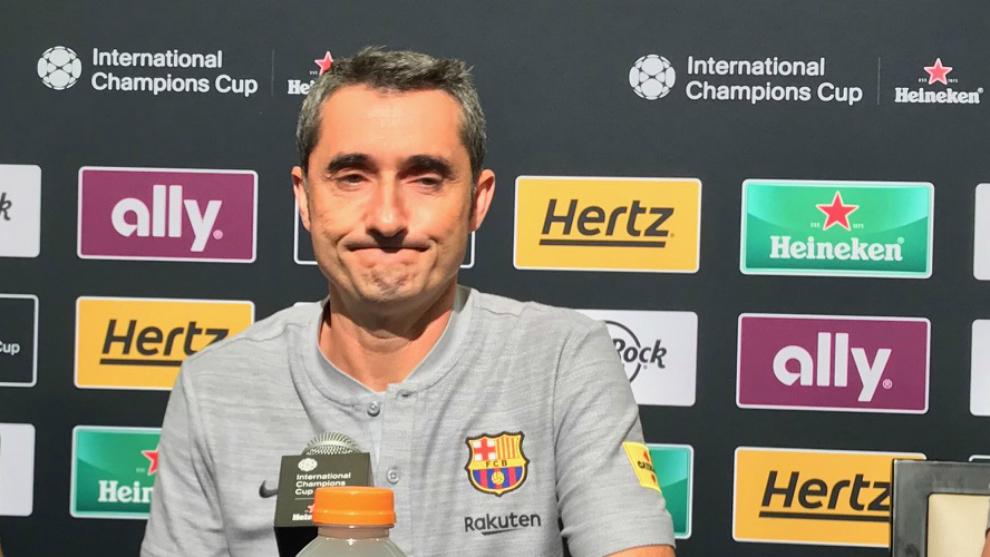 Valverde, en rueda de prensa en el Levi's Stadium.