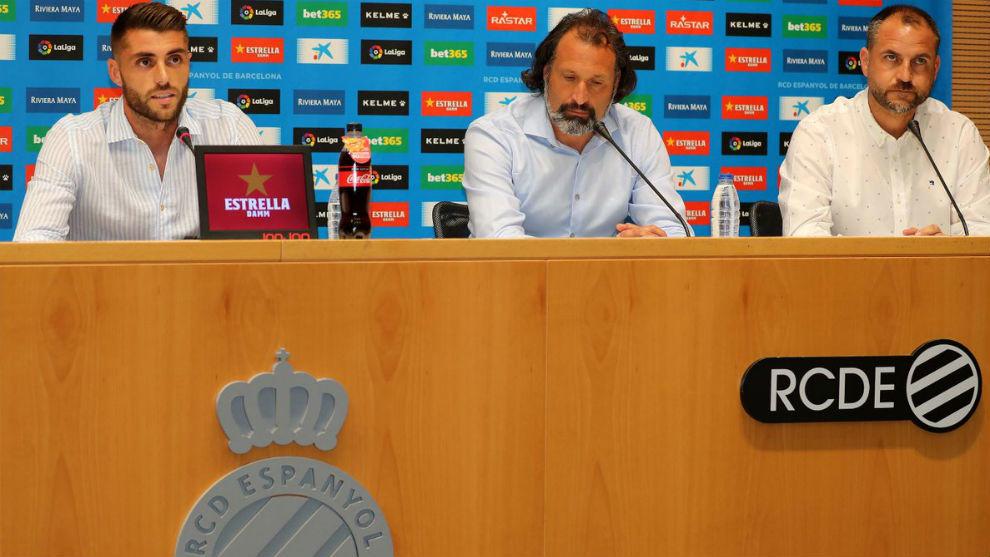 David López, Rufete y Óscar Perarnau, en Cornellà.
