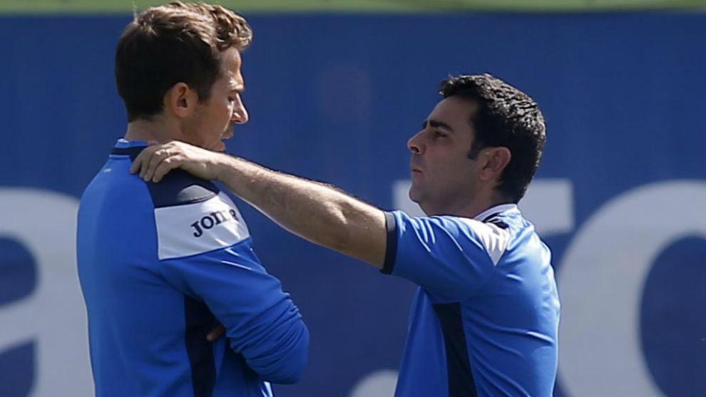 Tamudo, junto a  David Gallego, en un entrenamiento de la temporada...