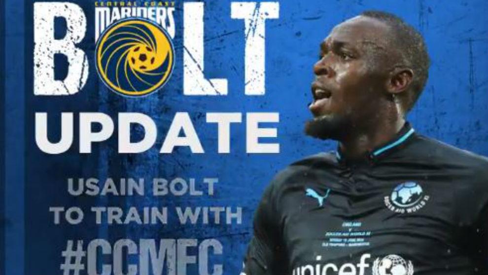El anuncio de la llegada de Bolt al Central Coast Mariners.