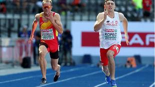 Ángel David Rodríguez, en las series de los 100 metros