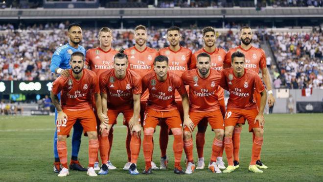 Once del Real Madrid ante la Roma.
