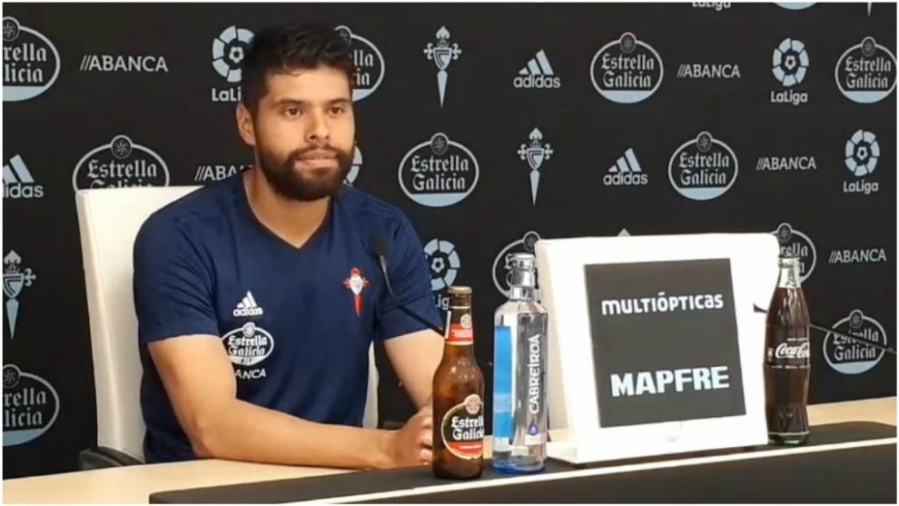 Néstor Araujo, en rueda de prensa este miércoles.
