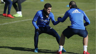 Alfaro, en un entrenamiento en la Ciudad deportiva.