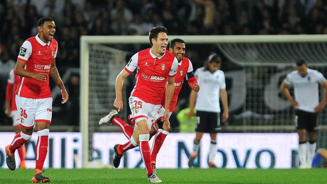 Vukcevic celebra un gol con el Sporting de Braga.