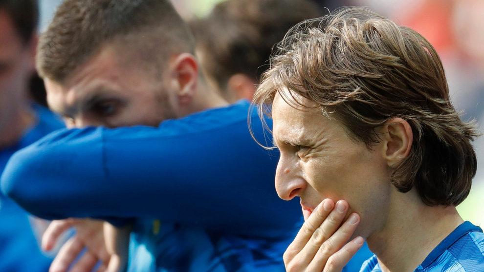Luka Modric en un entrenamiento con Croacia.
