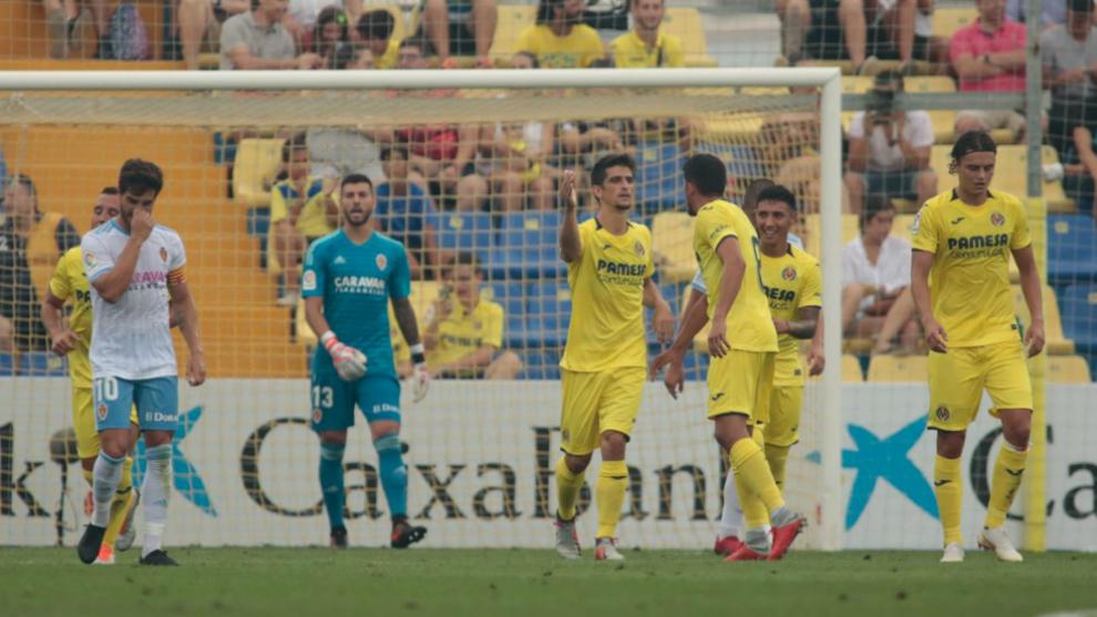 Gerard Moreno celebra el primer gol