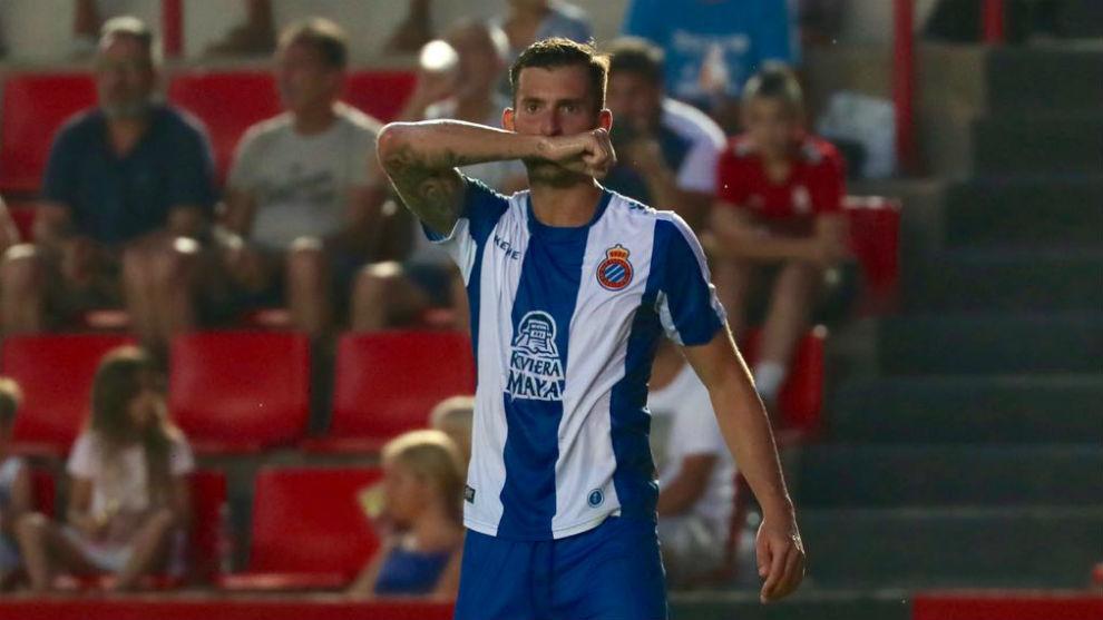 Leo Baptistao celebra su gol contra el Nàstic.