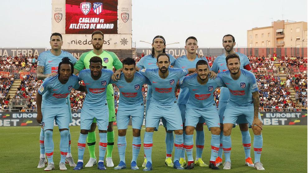 El once titular del Atlético frente al Cagliari