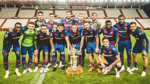 Los jugadores del Levante celebran la victoria ante el Albacete.