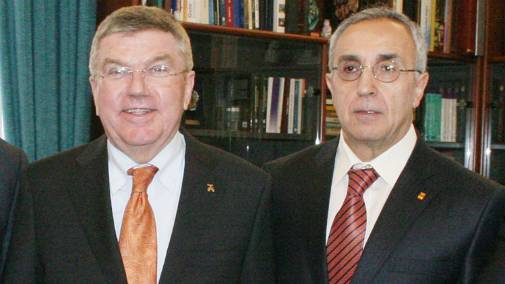 Thomas Bach, presidente del COI, y Alejandro Blanco, presidente del...