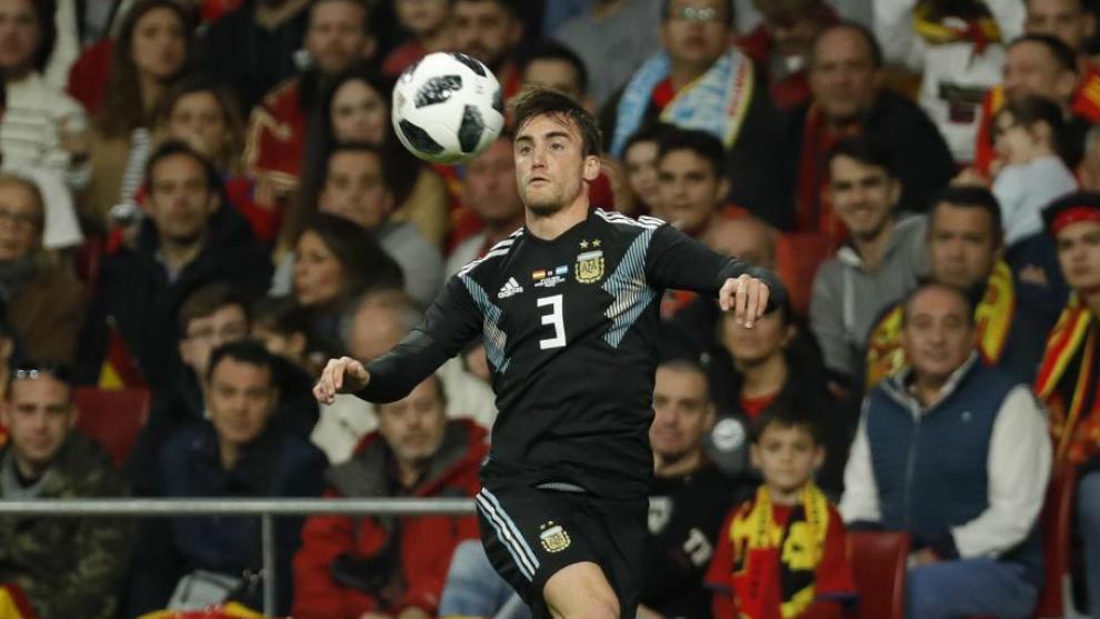 Nico Tagliafico en el amistoso que disputaron España y Argentina en...