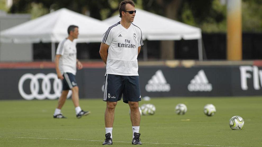 Lopetegui en un entrenamiento con el Real Madrid