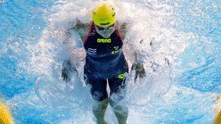 La sueca Sjöström , en la final de los 50 m mariposa que ganó.