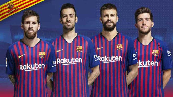 Lionel Messi, Sergio Busquets, Gerard Pique and Sergi Roberto