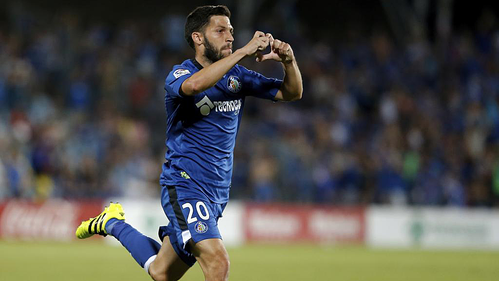 Dani Pacheco celebra un gol con el Getafe en los 'playoffs' de ascenso...